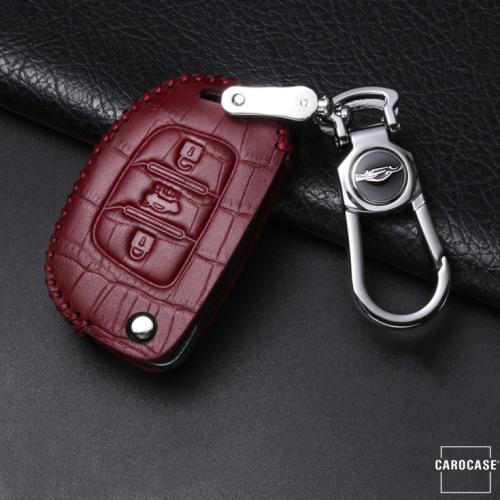 KROKO Leder Schlüssel Cover passend für Hyundai Schlüssel weinrot LEK44-D6