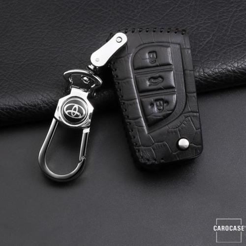 KROKO Leder Schlüssel Cover passend für Toyota Schlüssel schwarz/schwarz LEK44-T2