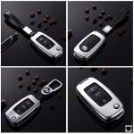 Alu Schlüssel Cover für Volkswagen, Skoda, Seat Schlüssel inkl. Lederband  HEK34-V2