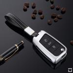 Alu Schlüssel Cover für Volkswagen, Audi, Skoda, Seat Schlüssel inkl. Lederband  HEK34-V3