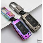 Alu Hartschalen Schlüssel Cover passend für Volkswagen, Skoda, Seat Autoschlüssel  HEK13-V2