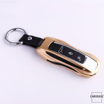 PREMIUM Alu Schlüssel Etui passend für Porsche Autoschlüssel gold HEK42-PE2-16