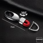 Leder Schlüsselanhänger, inkl. Karabiner rot