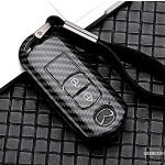 Carbon Look Schlüssel Cover passend für Mazda Schlüssel schwarz HEK47-MZ1-1