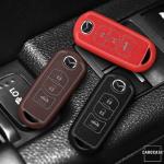 Silikon Alcantara Schutzhülle passend für Mazda Schlüssel + Lederband + Karabiner  SEK12-MZ2