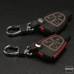 Leder Schlüssel Cover inkl. Karabinerhaken passend für Mercedes-Benz Schlüssel  LEK37-M4
