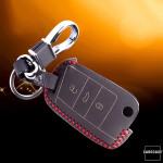 Leder Schlüssel Cover inkl. Karabinerhaken für VW Seat Skoda Schlüssel LEK37-V3
