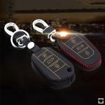 Leder Schlüssel Cover inkl. Karabinerhaken für Peugeot Citroen Schlüssel LEK37-P2