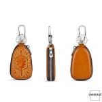 Leder Schlüsseltasche mit Ornamentmuster und Reißverschluß