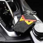 Premium Alcantara Leder Schlüsseltasche schwarz/rot STS6-11