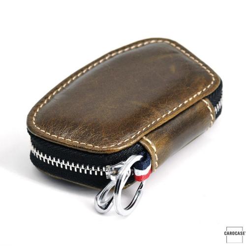 MOON Leder Schlüsseletui mit Reißverschluß - STS23 khaki