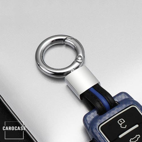 Schlüsselanhänger Lederband passend für HEK20 Etui Serie schwarz/blau