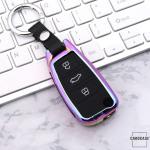 Alu Schlüssel Cover mit Silikon Tastenabdeckung passend für Audi Autoschlüssel  HEK37-AX3