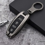 Alu Schlüssel Cover mit Silikon Tastenabdeckung passend für AUDI Autoschlüssel HEK37-AX7
