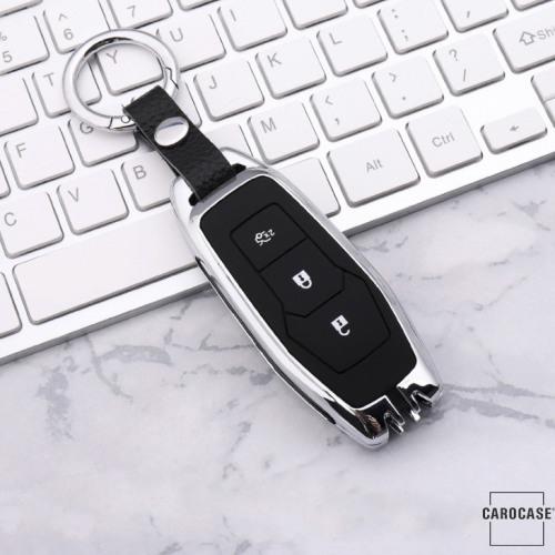 Alu Schlüssel Cover mit Silikon Tastenabdeckung passend für Ford Autoschlüssel HEK37-F3