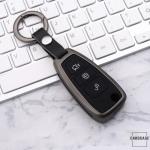 Alu Schlüssel Cover mit Silikon Tastenabdeckung passend für Ford Autoschlüssel  HEK37-F4