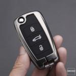 Schlüssel Cover mit Silikon Tastenabdeckung passend für VW Autoschlüssel HEK37-V2
