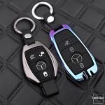 Alu Schlüssel Cover mit Silikon Tastenabdeckung passend für Mercedes-Benz Autoschlüssel  HEK37-M7
