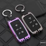 Alu Schlüssel Cover mit Silikon Tastenabdeckung passend für Land Rover, Jaguar Autoschlüssel  HEK37-LR2
