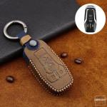 Premium Leder Cover passend für Ford Schlüssel + Anhänger  LEK60-F7