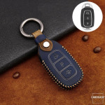 Premium Leder Cover passend für Hyundai Schlüssel + Anhänger blau LEK60-D9-4