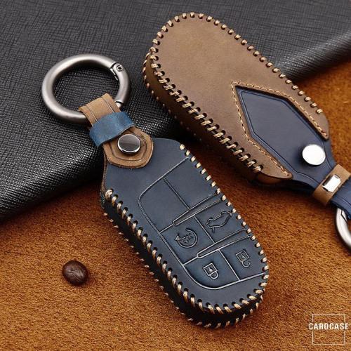 Premium Leder Cover passend für Jeep, Fiat Schlüssel + Anhänger  LEK60-J6