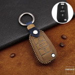 Premium Leder Cover passend für Citroen, Peugeot Schlüssel + Anhänger  LEK60-P3