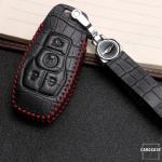 KROKO Leder Schlüssel Cover passend für Ford Schlüssel  LEK44-F7