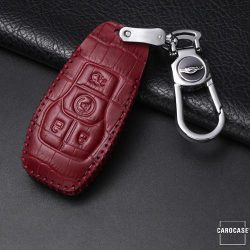 KROKO Leder Schlüssel Cover passend für Ford Schlüssel weinrot LEK44-F7