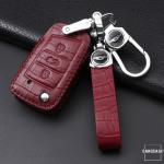 KROKO Leder Cover passend für Volkswagen Schlüssel -LEK44-V3X