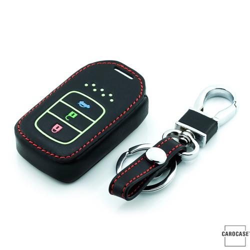 Leder Schlüssel Cover passend für Honda Schlüssel braun LEUCHTEND! LEK2-H12-2