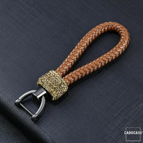 Lederband - Schlüsselanhänger mit Kristallband SAR36 anthrazit hellbraun