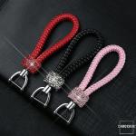 Lederband - Schlüsselanhänger mit Kristallband SAR36 anthrazit dunkelbraun