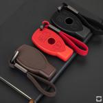 Silikon Alcantara Schutzhülle passend für Mercedes-Benz Schlüssel + Lederband + Karabiner  SEK12-M8
