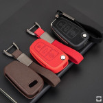 Silikon Alcantara Schutzhülle passend für Audi Schlüssel + Lederband + Karabiner  SEK12-AX3