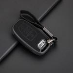 Silikon Alcantara Schutzhülle passend für Audi Schlüssel + Lederband + Karabiner schwarz SEK12-AX4-1
