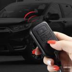 Silikon Alcantara Schutzhülle passend für Honda Schlüssel + Lederband + Karabiner  SEK12-H11