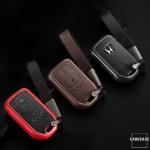 Silikon Alcantara Schutzhülle passend für Honda Schlüssel + Lederband + Karabiner schwarz SEK12-H11-1