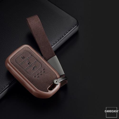 Coque de protection en silicone, Cuir Alcantara pour voiture Honda clé télécommande H12 brun