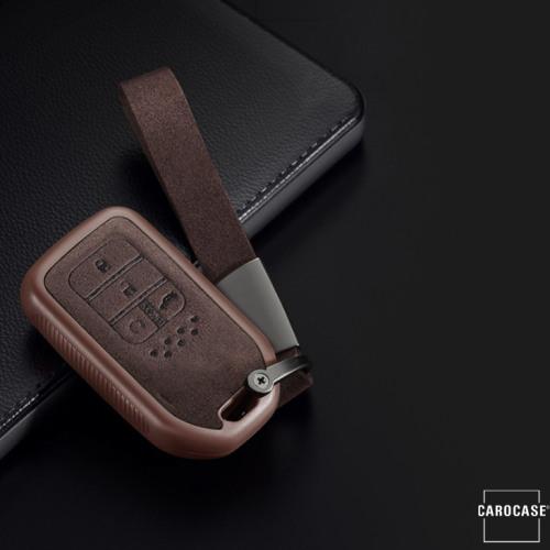 Silikon Alcantara Schutzhülle passend für Honda Schlüssel + Lederband + Karabiner braun SEK12-H13-2