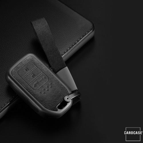 Silikon Alcantara Schutzhülle passend für Honda Schlüssel + Lederband + Karabiner braun SEK12-H15-2