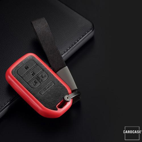 silicona, Cuero Alcantara funda para llave de Honda H16 rojo
