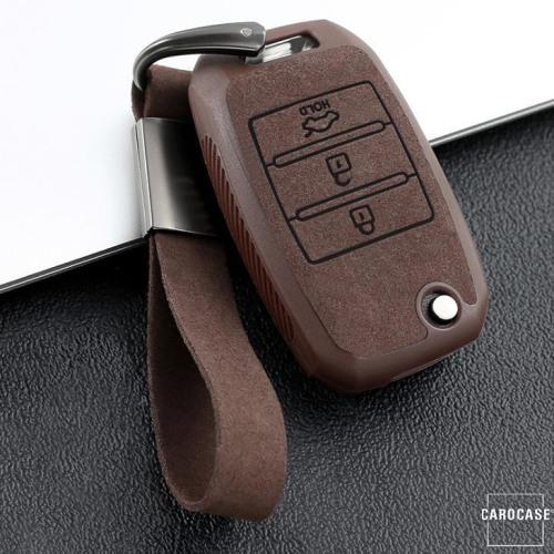 Silikon Alcantara Schutzhülle passend für Kia Schlüssel + Lederband + Karabiner braun SEK12-K3-2