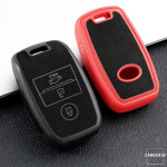 Silikon Alcantara Schutzhülle passend für Kia Schlüssel + Lederband + Karabiner  SEK12-K7