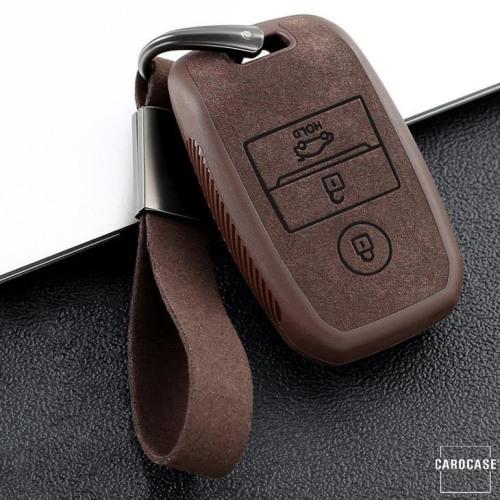 Cover Guscio / Copri-chiave silicone, Pelle Alcantara compatibile con Kia K7 marrone