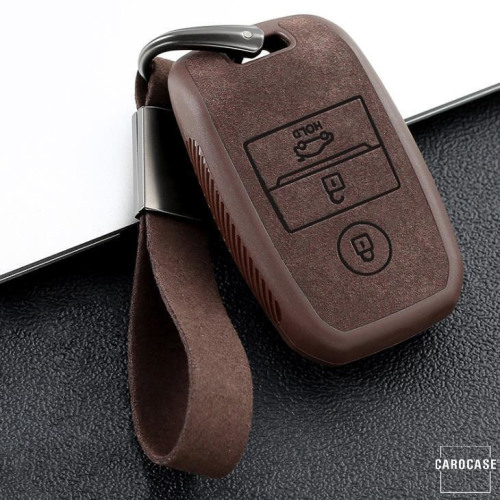 Silikon Alcantara Schutzhülle passend für Kia Schlüssel + Lederband + Karabiner braun SEK12-K7-2