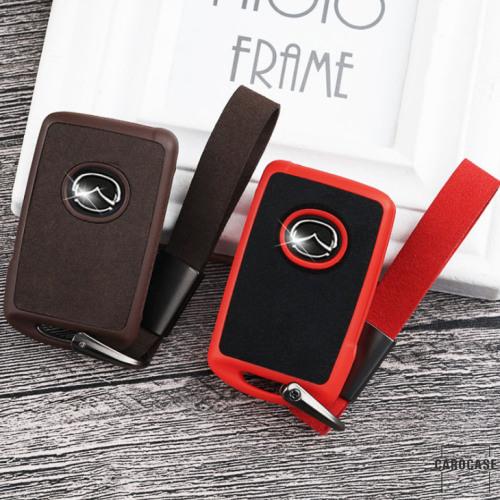 Silikon Alcantara Schutzhülle passend für Mazda Schlüssel + Lederband + Karabiner  SEK12-MZ5