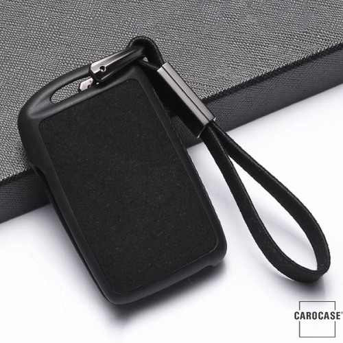 Silikon Alcantara Schutzhülle passend für Mazda Schlüssel + Lederband + Karabiner schwarz SEK12-MZ5-1