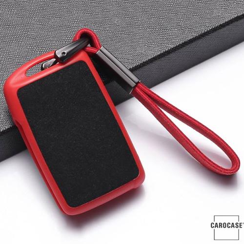 Silikon Alcantara Schutzhülle passend für Mazda Schlüssel + Lederband + Karabiner rot SEK12-MZ5-3