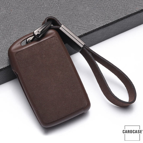 Silikon Alcantara Schutzhülle passend für Mazda Schlüssel + Lederband + Karabiner braun SEK12-MZ5-2